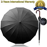 Royal Walk Windproof Umbrella Black Large 54 Inch Automatic Open for 2 Persons Stormproof for Men Women Classic Wooden Handle Lightweight Waterproof Durable Strong 16 Ribs Travel Golf Unisex 120cm
