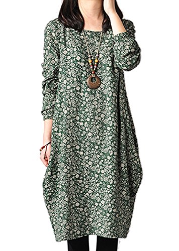 Ammy Fashion Women's Floral Cotton & linen Long Sleeves Oversized Shift Dress