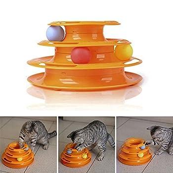 Patgoal Tour Trois Pistes Plateau Tournant Boule Attractions Intelligence Antidérapant Design Pet Jouet Pour Chat
