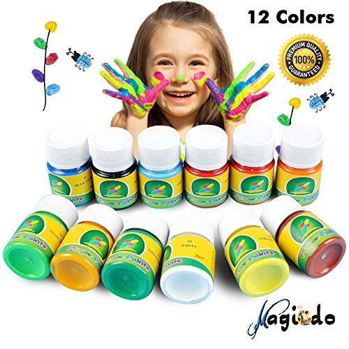 Magicdo Washable Finger Paint - 12 Colours Kids Painting Artwork, Safe Kid's Paints for Drawing, Arts, Crafts and Posters, Non-Toxic Kids Finger Paint Set Perfect for School, Halloween, Children's Day