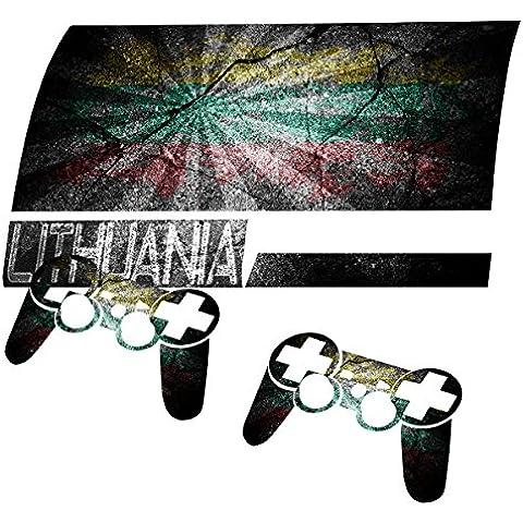 Graffiti Bandiera Lituania 2, Skin Autoadesivo Sticker Adesivi Pelle Cover Decal Set con Disegno Strutturato con PlayStation 3 Fat