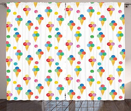 ABAKUHAUS EIS Rustikaler Gardine, Triple Scoops Grungy, Schlafzimmer Kräuselband Vorhang mit Schlaufen und Haken, 280 x 260 cm, Mehrfarbig -