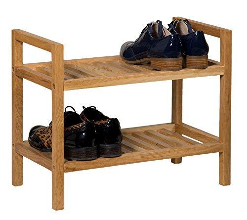 Eiche Stapelbar (Waverly Stapelbares Eichen-Schuhregal, Finish in heller Eiche, passend für 4Paar Schuhe, schmaler Massiv-Holz-Organizer/Ständer, 2Etagen)