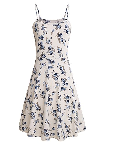SOLERSUN Womens Sleeveless Summer Dress Floral Printed Adjustable Spaghetti Strap Dresses