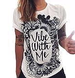 Hippolo Damen T-Shirt weiß Baumwolle mit Schöne Blume Aufdruck (S, 6)