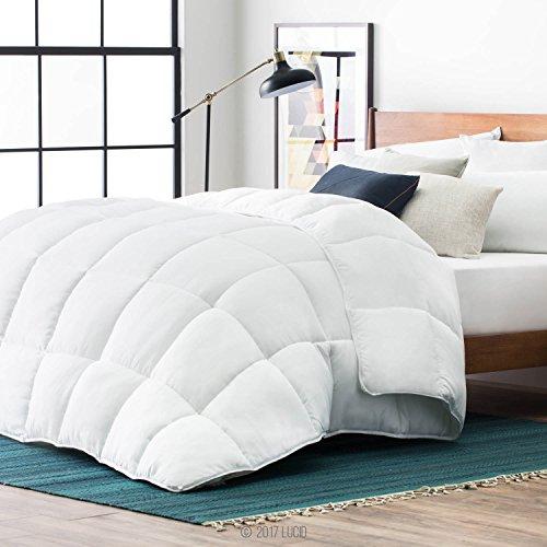 Lucid Alternative Schmusetuch für alle Jahreszeiten, hypoallergen, 400 g/m², sehr weich und kuschelig, 8 Schlaufen, in Box genäht, maschinenwaschbar, für Queen, Weiß -