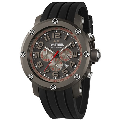 TW Steel Unisex Quartz Watch with Grey Dial Chronograph Display and Black Rubber Strap TW613