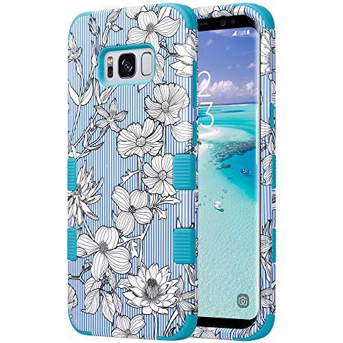 ULAK Cover per Samsung Galaxy S8 Plus, Custodia S8 Plus Sottile Adatto Cover Rigida Ibrida a 3 Strati in Silicone a Prova di Collisione Case per Samsung Galaxy S8 Plus 5.8 Pollici, Fiore