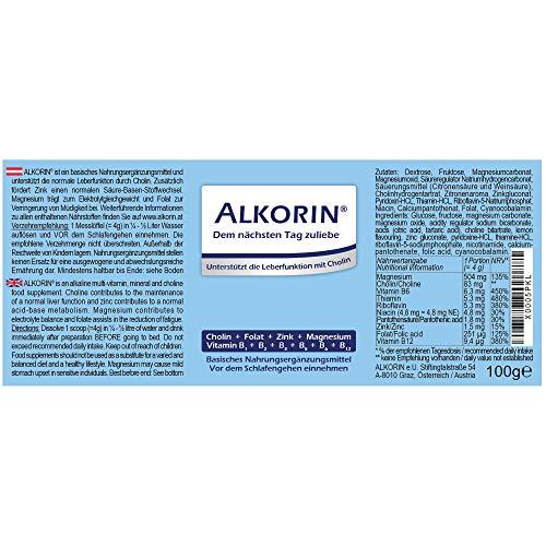 ALKORIN dem nächsten Tag zuliebe – Unterstützt die normale Leberfunktion mit Cholin – 100g Dose für 25 Anwendungen – Mit Magnesium, Zink, Folat und Vitamin B1 + B2 + B3 + B5 +