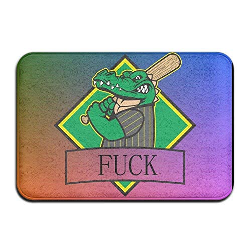 DANCENLI Door Mat Indoor Doormat Alligator Crocodile Baseball Fuck Front Door Mats Rug Personalized Mat for Bathroom Kitchen Bedroom Entryway Floor Mats,Non-Slip Rubber,15.7