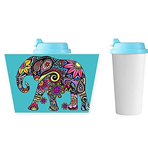 Plastics Guy Print With Colorful Elephant Drawing 3 Durability Coffee Cup