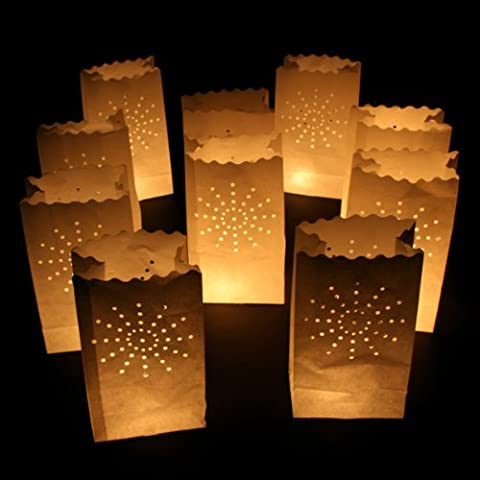 forestfox™ PACK OF 10 PARTY TEALIGHT CANDLE BAGS LANTERN IDEAL FOR WEDDINGS GARDEN PATH