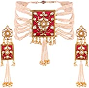 Aheli Elegant Wedding Traditional Party Wear Jewelry Pearl and Faux Kundan Choker Necklace with Earrings Set f
