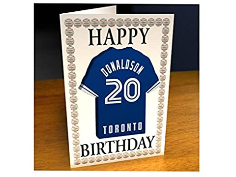 MAJOR LEAGUE BASEBALL - AMERICAN LEAGUE MLB JERSEY BIRTHDAY CARDS - ANY NAME, ANY NUMBER, ANY TEAM - FREE PERSONALISATION !! (Toronto Blue Jays MLB