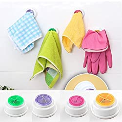 House of Quirk 4pcs Rubber Suction Pad Cloth Tea Towel Holder Rubber Push In Self-Adhesive Back