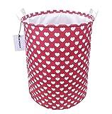 Kimjun Wäschekorb Wäschebox Faltbar Wäschebox Wäschesammler Kinder Spielzeug Aufbewahrungskorb Aufbewahrungsbox Herz-Muster Rot