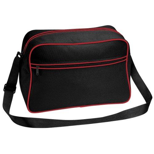 Bagbase - Borsa a tracolla stile retrò - 18 Litri Nero/Rosso