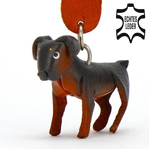 Rottweiler Roxy - Hunde Schlüsselanhänger Figur aus Leder in der Kategorie Kuscheltier / Stofftier / Plüschtier von Monkimau in schwarz braun - Dein bester Freund. Immer dabei! - ca. 5cm klein (Lieben Katzen Männer Echte)