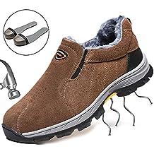 9f570e21e801f Zapatos de Seguridad Mujer Hombre Zapatos de Trabajo Puntera de Acero  Antideslizante Zapatos Otoño Invierno Cálido
