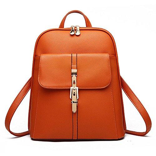 U-shot zaino scuola per ragazze, in stile casual a tinta unita, in finta pelle Orange