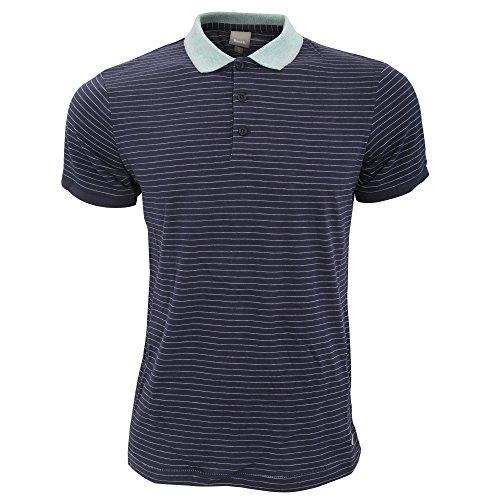 Bench Herren Curl Polo-Hemd mit Nadelstreifen, kurzärmlig Marineblau