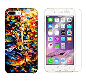 Snoogg Abstract Colorful Paint Combo Designer Protective Back & Shatter Proof Tempered Glass For APPLE IPHONE 7 PLUS