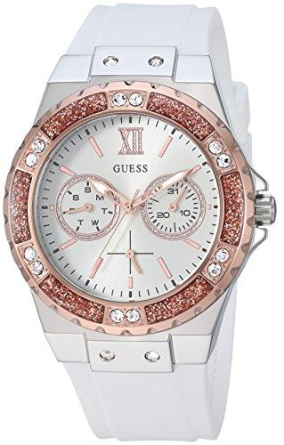 Guess orologio acciaio silicone cristallo Accentati da donna, colore bianco/argento/oro rosa (Model: U1053L2)