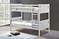 Humza Amani Glory White 3FT Single Wooden Bunk Bed (With Coil Spring Mattress)