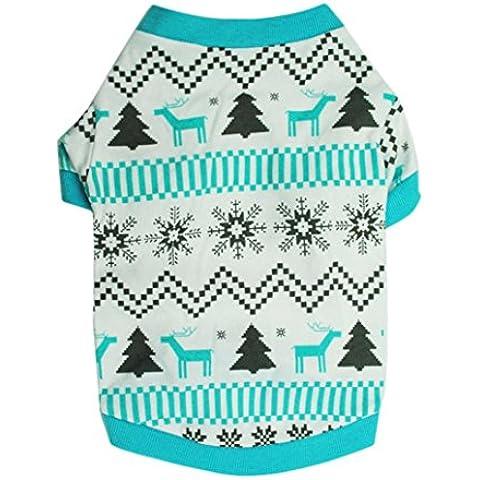Ularma Shirt di Natale Pet Vestiti del Cane Stampato Neve Fawn interblocco Natale Pet (L)
