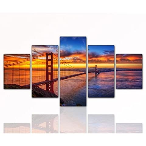 Wall Picture XXL 5 Part Golden Gate Bridge 160 x 80 cm Print on Genuine Canvas with Stretcher Frame Large Made in Germany San Francisco Sunset River Sea Sun by ps-art