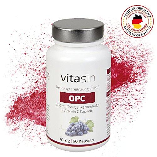 VITASIN Traubenkernextrakt OPC + Vitamin C Kapseln I 300mg hochdosiert I 2 Monatsvorrat I Hergestellt in Deutschland I mit Zufriedenheitsgarantie