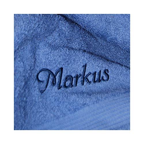 uch mit Namen nach Wunsch bestickt, 70 x 140 cm, Fjord/Blau, Stickfarbe Blau, Qualität von deutschen Herstellern, schwere Premium-Qualität, 100% Baumwolle ()