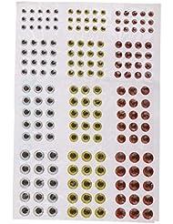 MagiDeal 1 Feuille de 183pcs Yeux Poisson Leurre de Pêche Mixte Taille 3/4/5 / 6mm