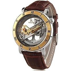 Alienwork IK mechanische Automatik Armbanduhr Skelett Automatikuhr Uhr Wasserdicht 5ATM silber braun Leder 98399G-MS-S