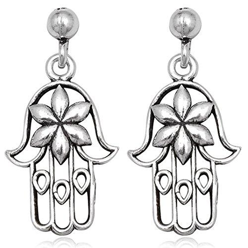 EYS JEWELRY Damen-Ohrstecker Hand der Fatima 925 Sterling Silber oxidiert 29 x 14 mm Ohrringe