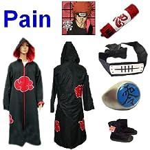 Anime Naruto Pain cosplay costume, manteau Akatsuki (taille S:Hauteur 150cm-158cm,)+ anneau +Pain bandeau +Naruto trousse+chaussures