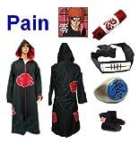 SUNKEE Traje de Cosplay para cosplay Naruto Akatsuki Pain Ninja Set- Capa con capucha(M:Tamaño 159cm-168cm)+caja de lápiz+Pain diadema+anillo+zapatos
