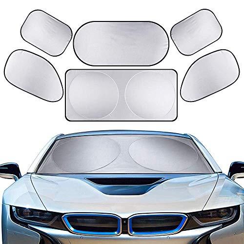Yinuoday Sonnenschutz für das Auto, für das ganze Fenster, für die Vorderseite, Heckscheibe, Sonnenschutz, Sonnenschutz, 6 Stück