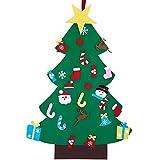 DIY Filz Weihnachtsbaum Set 26 Abnehmbare Filz Klettverschluss Ornamente Weihnachten Neujahr Geschenke Tür Wandbehang Dekoration für Kinder (Grün)