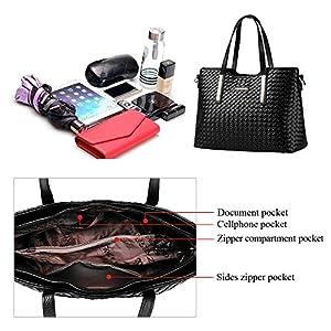 Tibes modo dell'unità di elaborazione della borsa del cuoio + Shoulder Bag + Purse 3pcs Bag Nero