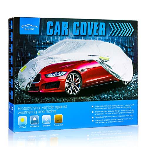 ELUTO Autoabdeckung Vollgarage Autoplan Wasserdicht Winddicht Alle Wetter Kratzfest UV-Schutz für den Außenbereich mit verstellbaren Schnallenriemen für Auto Passt bis zu 505cm (505 X 190 X 150cm)