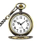 BestFire Reloj de bolsillo para hombre con cadena, colgante de cuarzo relojes de bolsillo para el día del padre, cumpleaños, aniversario, Navidad