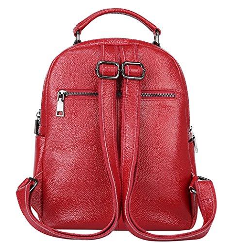 XinMaoYuan Autunno e Inverno pelle nappa Borsa a Tracolla zainetto alla moda donna borsa vento College School Bag,rosso Rosso
