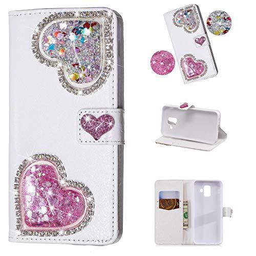 Vegan Diamant (Yobby Brieftasche Hülle für Samsung Galaxy J6 Plus,Diamant Geldbörse Handyhülle 3D Bling Flüssig Glitzer Süß Herz Weiß PU Leder Flipcase Kartenfach Stand Magnetisch Schutzhülle-Rosa)