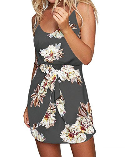 ACHIOOWA Sexy Women's Floral Printed Shirt Mini Dress Strapless Casual Backless Sundress Grey M