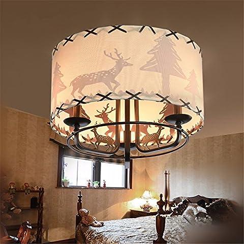 XMINL Creative Rétro Iron Art Deer Shadow Conduit Ombre De Lampe De Plafond De Salle Pour Enfants, 46 * 30cm