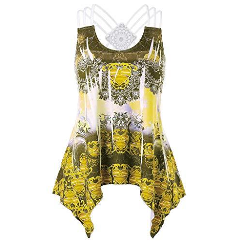 Tops Damen Spitze Oberteil Ärmellos T-Shirt Lose Blumen Bluse Sommer Mode Tank Tops Große Größe Bluelucon