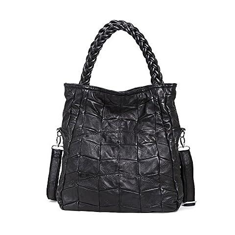 LQT Sac bandoulière sac à main grande capacité pour femme en cuir véritable Noir