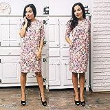 Elegantes Vintage-Kleid für Frauen auf Blumen mit Ärmeln und Taschen, Größen M, L, XL
