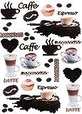 Unbekannt 38 TLG. Set _ XL Fensterbilder -  Kaffee / Espresso - Latte & Cappuccino  - Sticker Fenstersticker Aufkleber - selbstklebend + wiederverwendbar - Fensterbil..